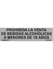 Placa Informativa Prohibida la Venta de Bebidas Alcohólicas a Menores de 18 Años