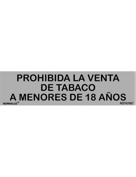Placa Informativa Prohibida la Venta de Tabaco a Menores de 18 Años