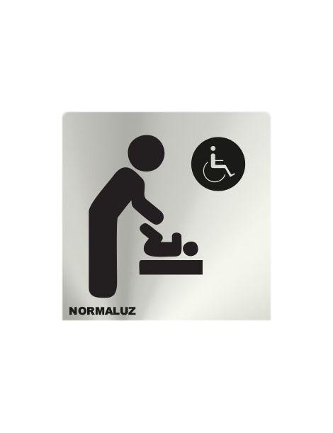 Placa Informativa Cambiador-Servicio Femenino y Minusvalidos